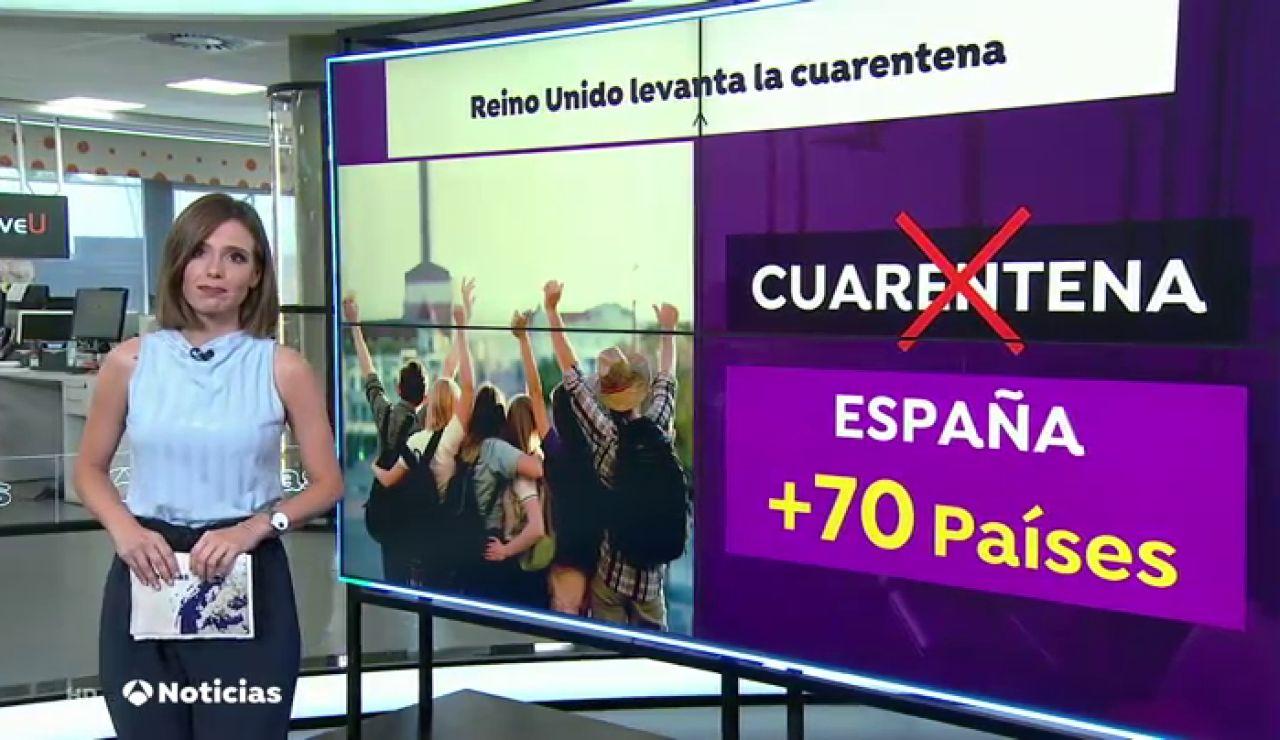 """Inglaterra elimina la cuarentena obligatoria para pasajeros de España y otros 70 países """"de menor riesgo"""""""