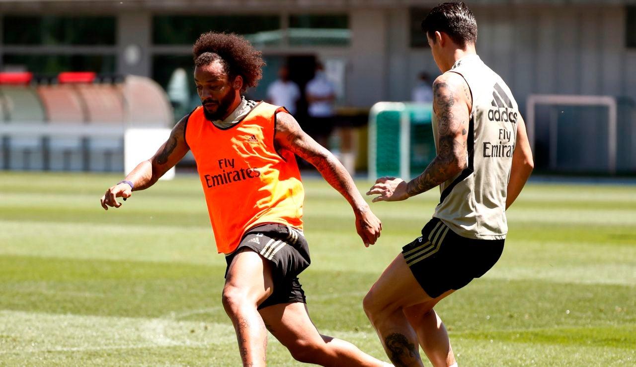 Marcelo, en un entrenamiento en Valdebebas