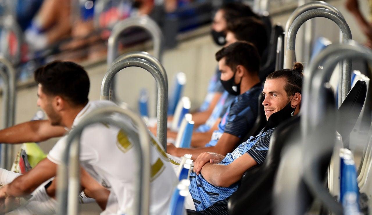 Gareth Bale, en la grada del Di Stéfano durante el partido contra el Alavés
