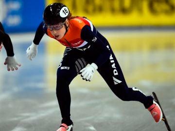 Lara Van Ruijven, durante una prueba de patinaje sobre hielo