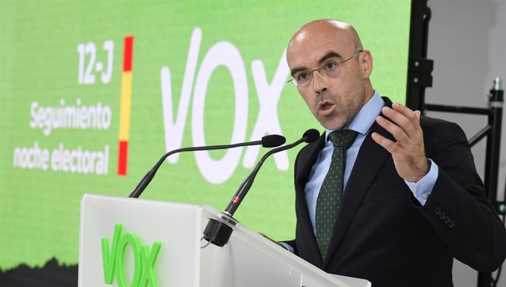 Jorge Buxadé en la sede de Vox en Madrid.