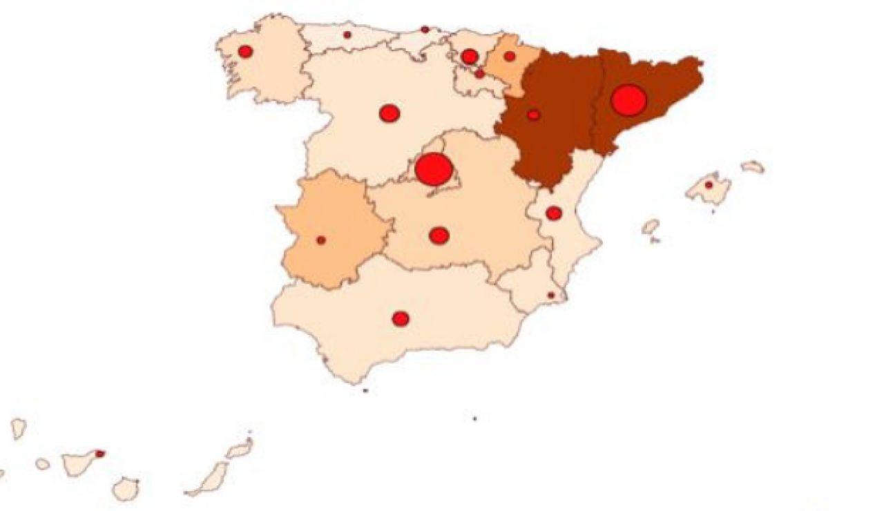Mapa coronavirus en España 16 de julio