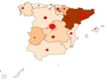Mapa coronavirus en España 13 de julio
