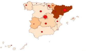 Mapa coronavirus en España 30 de agosto