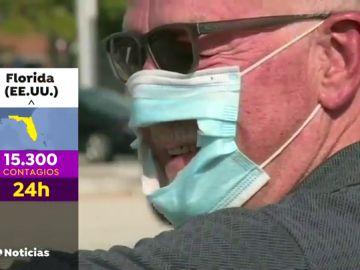 Activistas antimascarillas se manifiestan en Florida en el pico de contagios y con hospitales sin camas por coronavirus