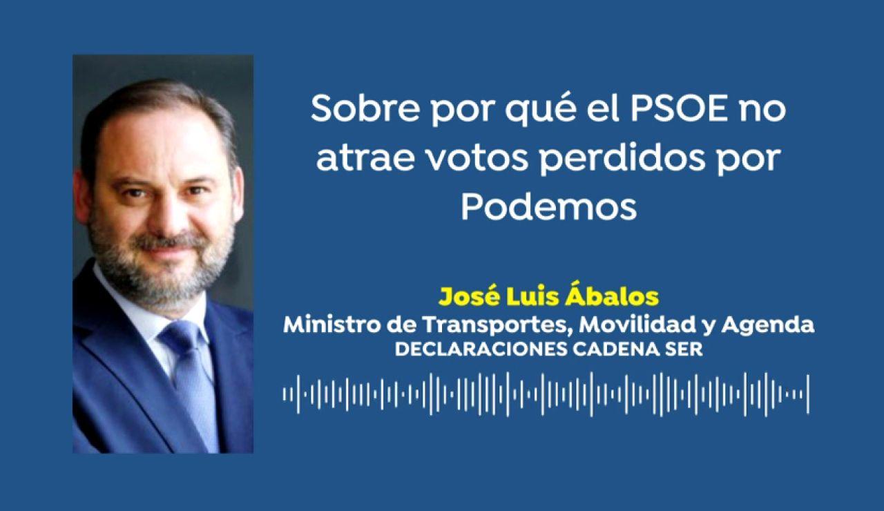 """José Luis Ábalos sobre por qué el PSOE no atrae votos perdidos por Podemos: """"No hay más que ver la irrupción de UP y su evolución"""""""