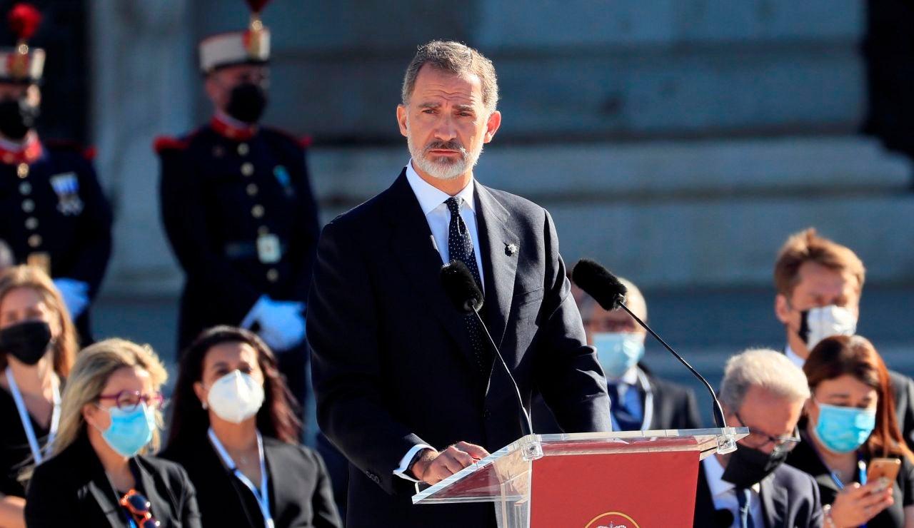 El rey Felipe VI, durante su discurso en el homenaje de Estado por el coronavirus