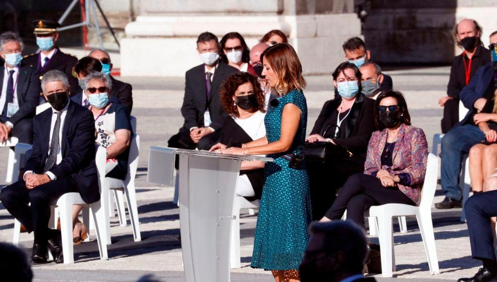 La enfermera Aroa López, durante el homenaje de Estado por el coronavirus