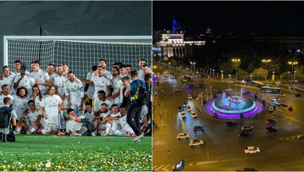 Los jugadores del Madrid celebran la Liga en Valdebebas y la Cibeles sin aficionados