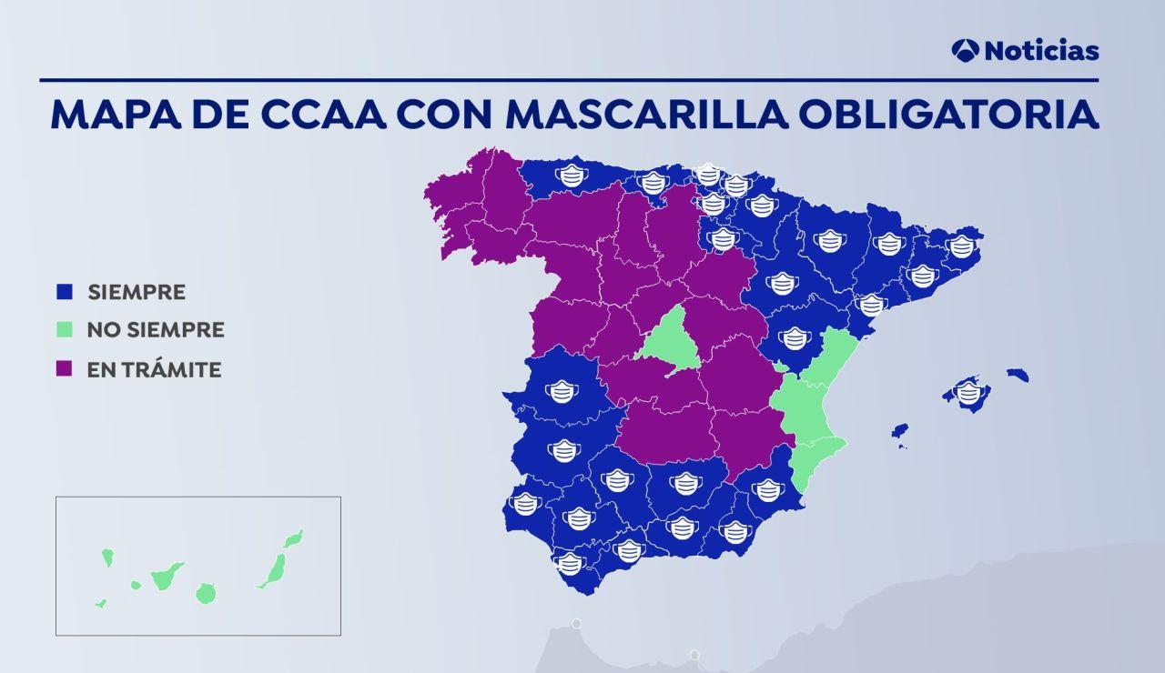 Mapa de las comunidades donde la mascarilla contra el coronavirus es obligatoria