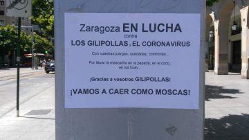 Cartel en Zaragoza