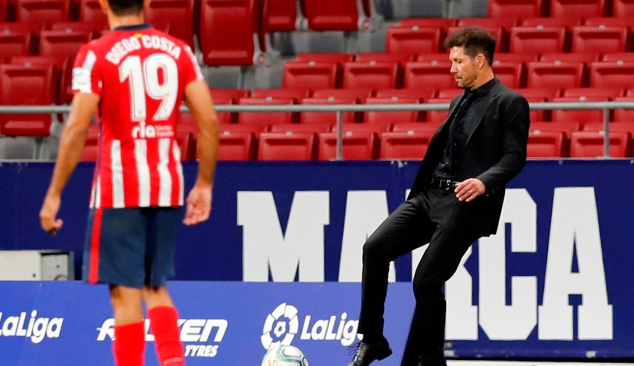 Simeone, en el partido ante la Real Sociedad