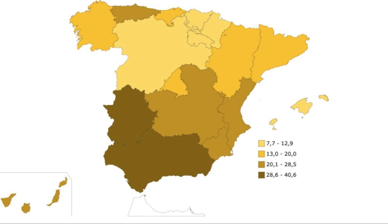 Mapa del riesgo de pobreza en España