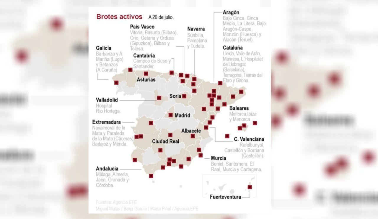 Mapa de rebrotes de coronavirus en España - A 20 de julio