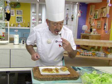 La reacción de Karlos Arguiñano al probar su propia receta en directo