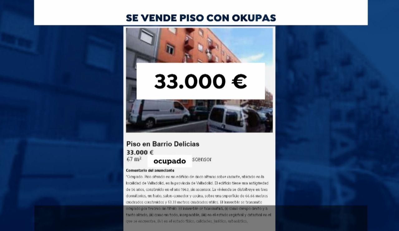 Ponen a la venta un piso en Valladolid con okupas en su interior