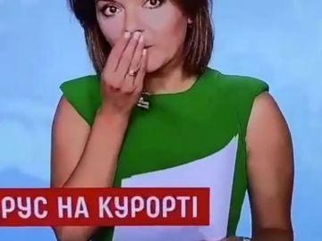 Una presentadora ucraniana pierde un diente en pleno directo