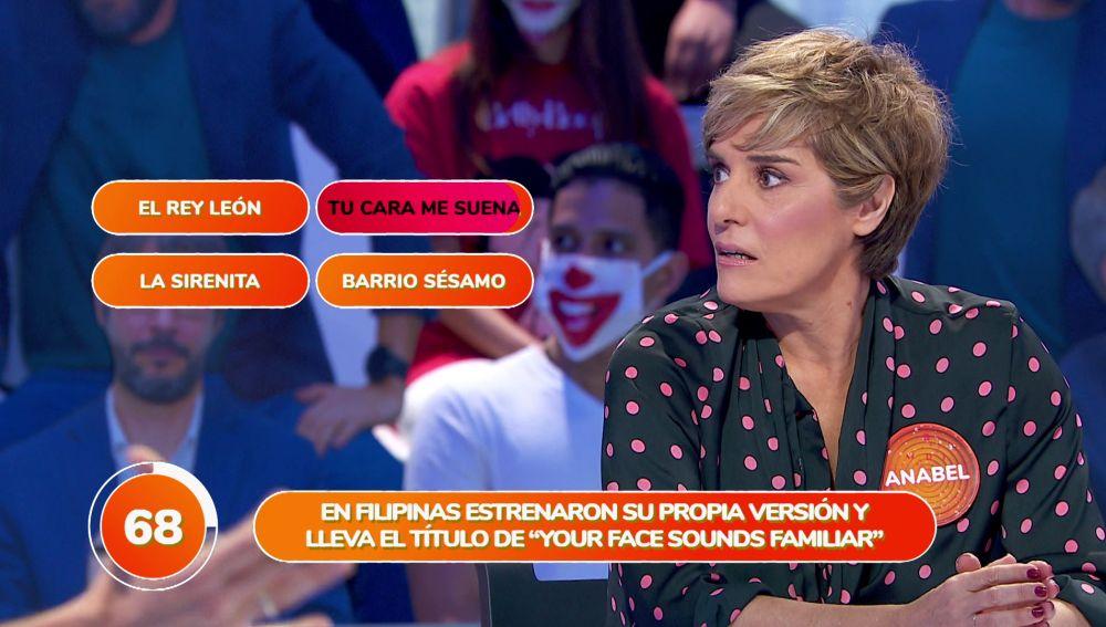 'Tu cara me suena' le juega una mala pasada a Anabel Alonso en su debut en 'Pasapalabra'