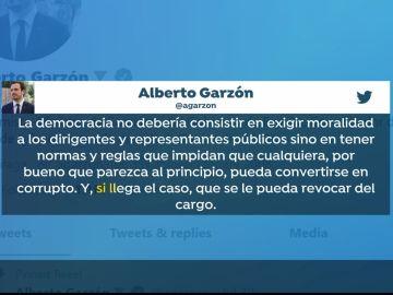 Tuit de Alberto Garzón en contra de la Monarquía