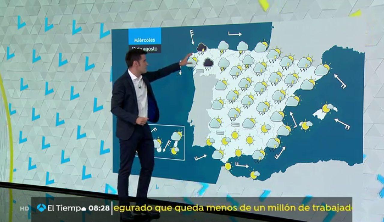 Este miércoles intensas tormentas al norte de Galicia y en el Cantábrico occidental