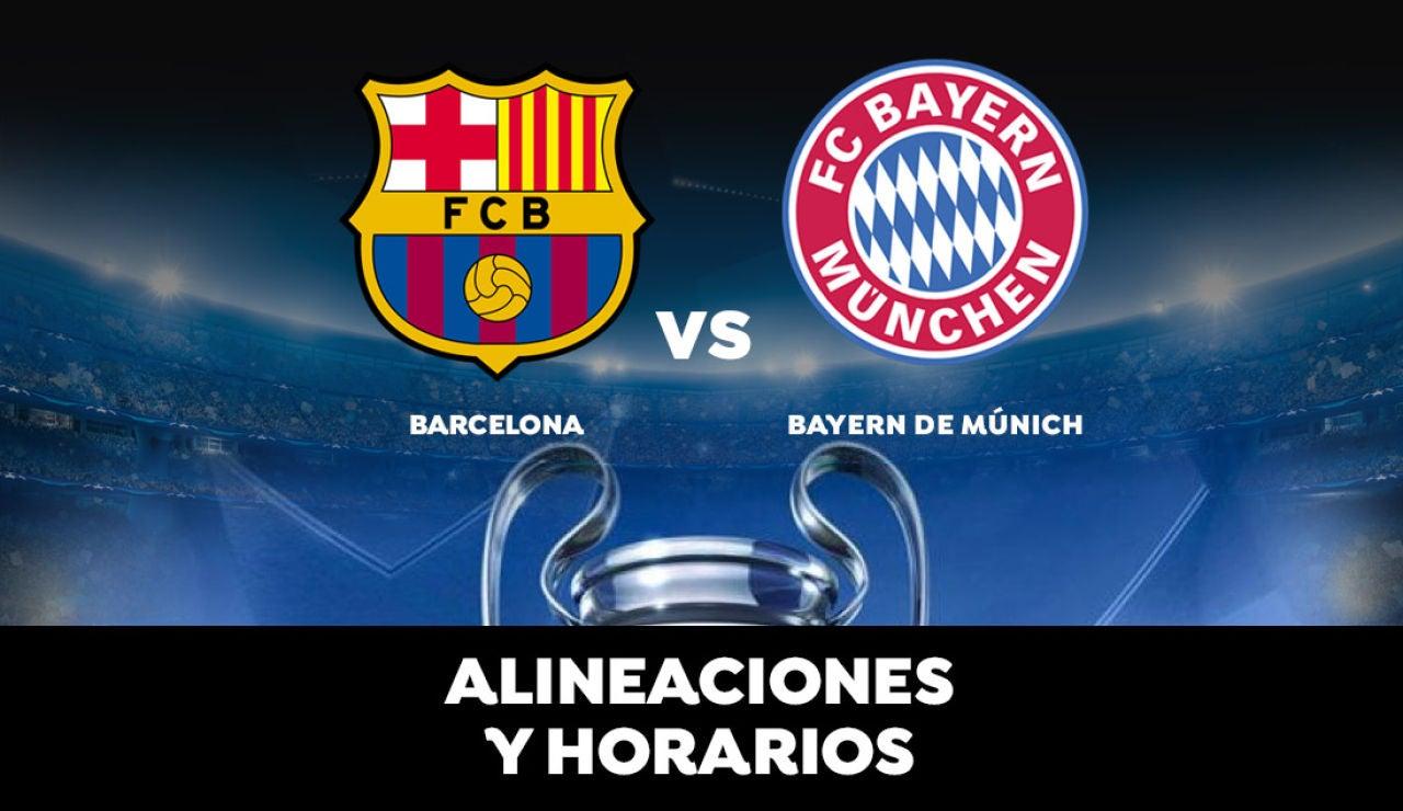 Barcelona - Bayern Múnich: Horario, alineaciones y dónde ver el partido en directo | Champions League