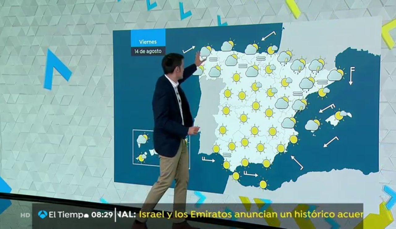 Este viernes se prevén cielos despejados en la mayor parte del país y tormentas en el Pirineo y el bajo Ebro