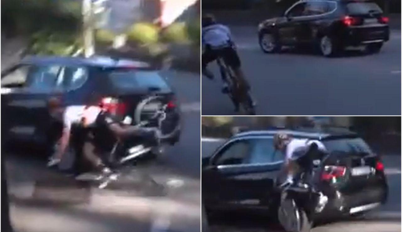 Un coche se cuela en pleno Giro de Lombardía arrollando a un ciclista y sembrando el pánico en la prueba