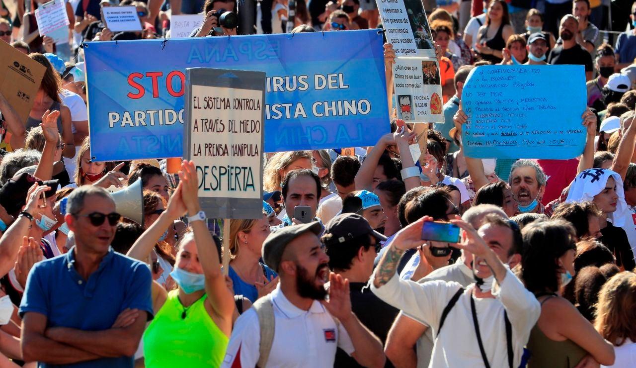 Manifestación de los negacionistas del coronavirus