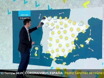 Lluvias fuertes en Galicia y cielos poco nubosos o despejados en la mayor parte del país