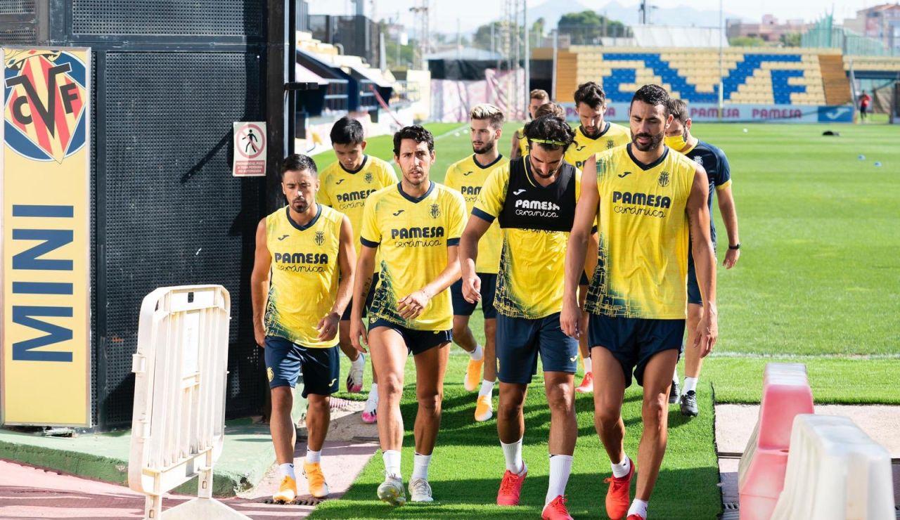 Los jugadores del Villarreal tras un entrenamiento