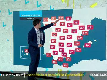 Altas temperaturas en el País Vasco, valle del Ebro, este de Castilla-La Mancha y Baleares