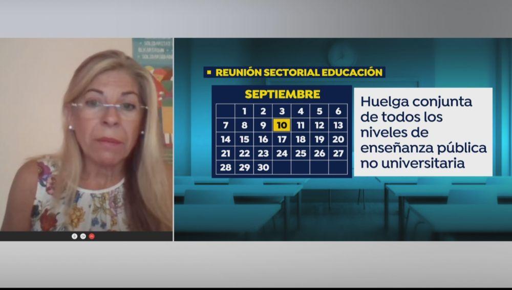 Teresa Jusdado, secretaria de Enseñanza de UGT, asegura que desconvocarán la huelga si se garantiza una vuelta al cole segura