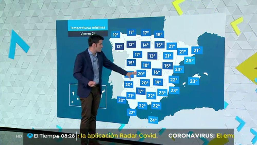Este viernes descenderán las temperaturas en general excepto en Canarias y en el área mediterránea
