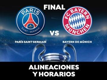 Horario y alineaciones del PSG vs Bayern, final de la Champions