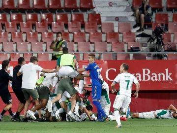 Los jugadores del Elche celebran el gol de Pere Milla