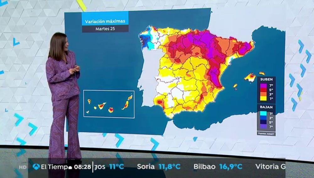 Aumento de las temperaturas en la mayor parte del país, salvo en Andalucía y Baleares, que descenderán