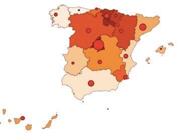 Mapa coronavirus en España 20 de septiembre