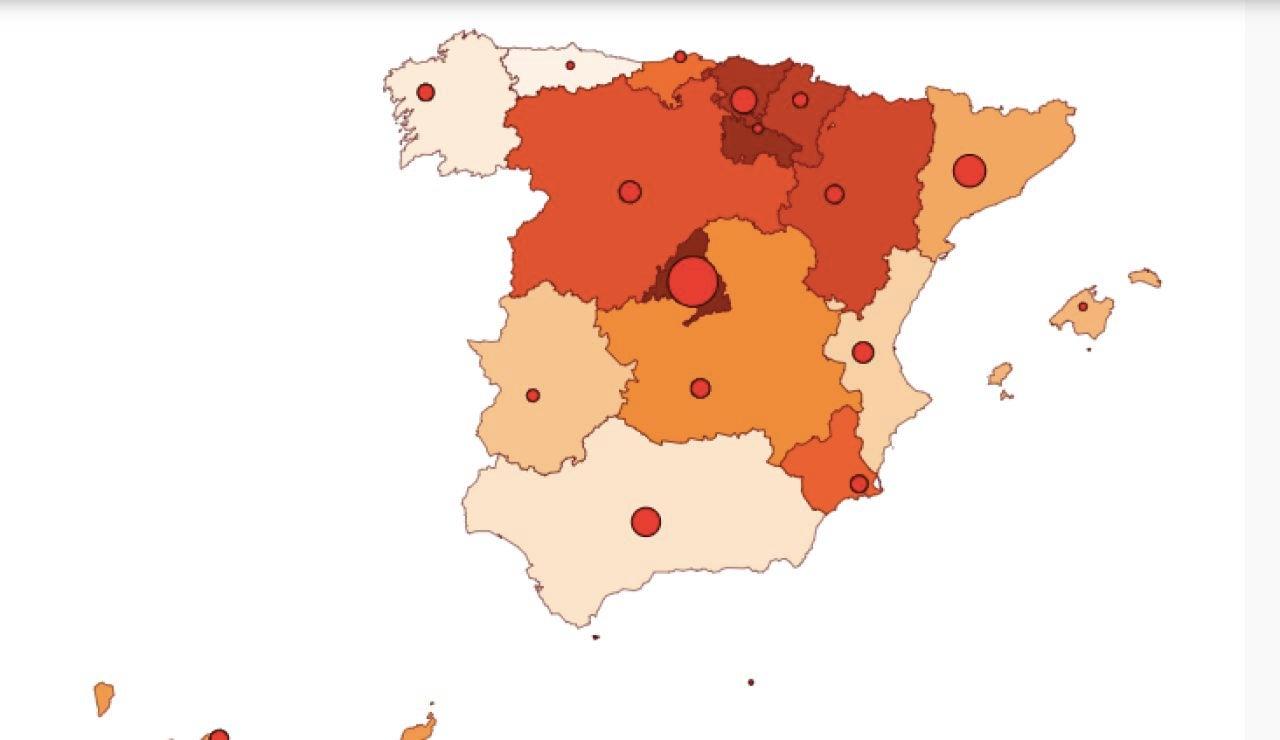 Mapa coronavirus en España 9 de septiembre