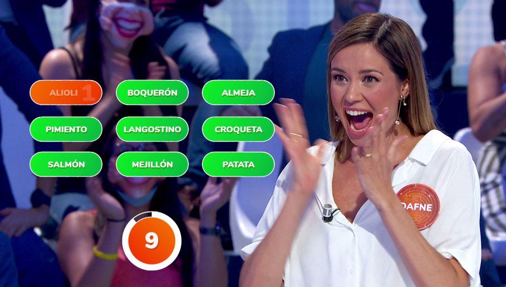 El grito de emoción de Dafne Fernández con el que celebra su espectacular jugada en '¿Dónde están?'