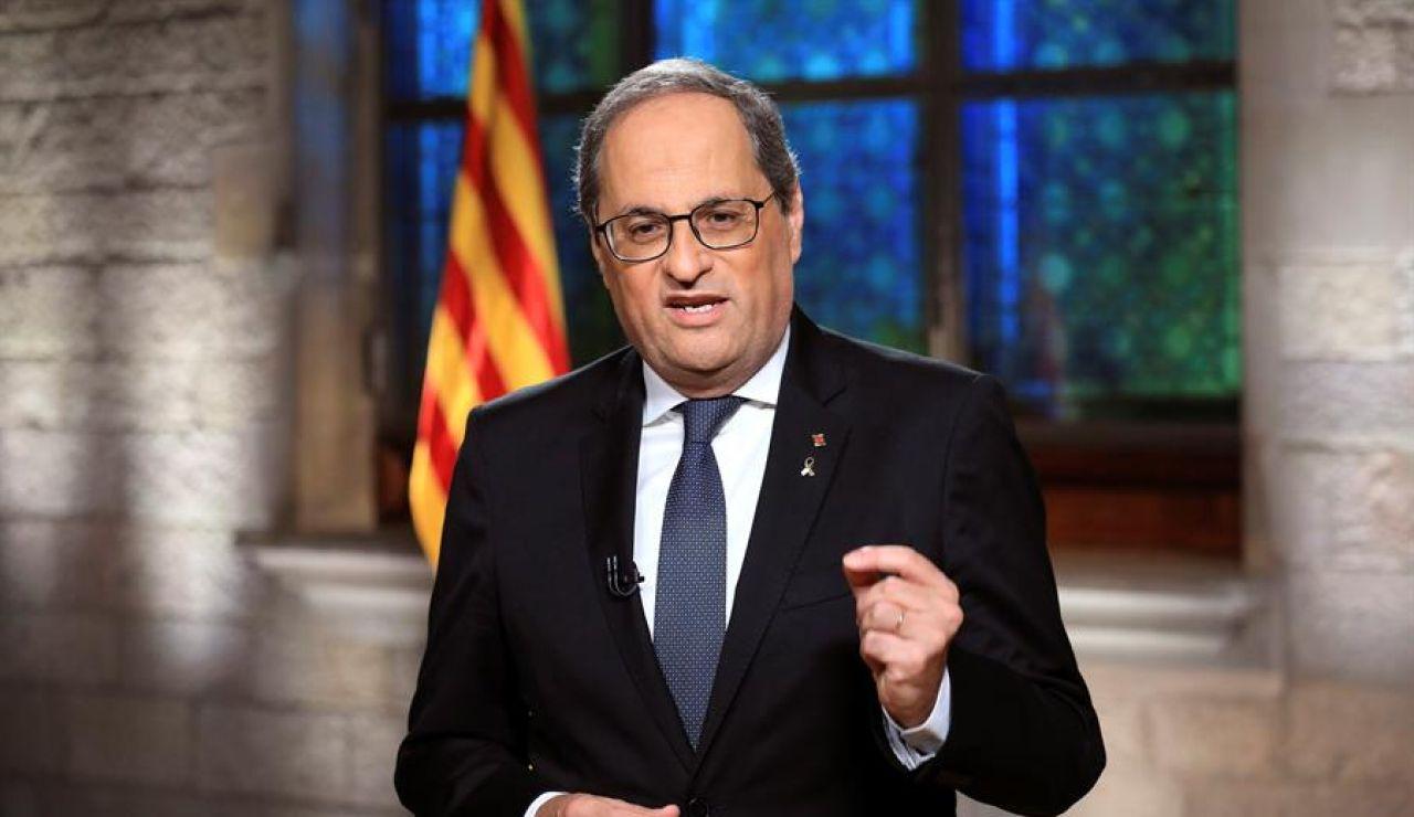 El presidente de la Generalitat, Quim Torra, durante el mensaje institucional de la Diada