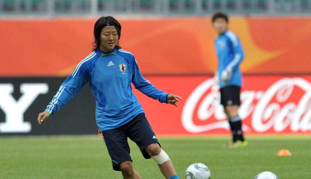 Yuki Nagasato en un entrenamiento con Japón