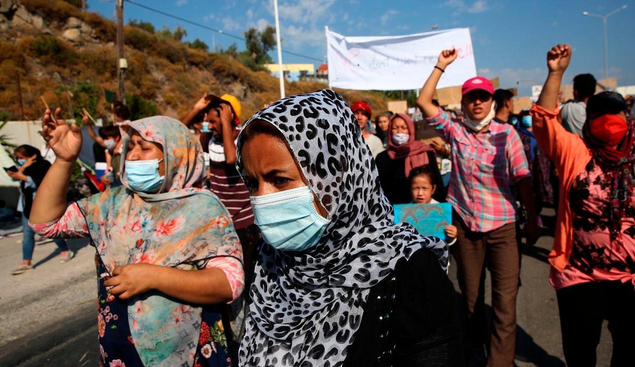 Manifestación en Lesbos