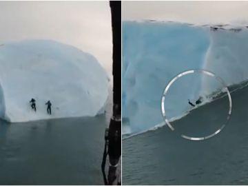 Se juegan la vida intentando escalar un iceberg que se hundía en medio del Ártico