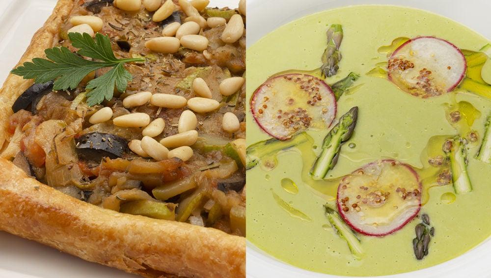 El menú rico en hortalizas y verduras de Karlos Arguiñano: hojaldre de verduras y salmorejo de espárragos