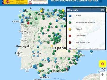 Mapa interactivo de la calidad del aire