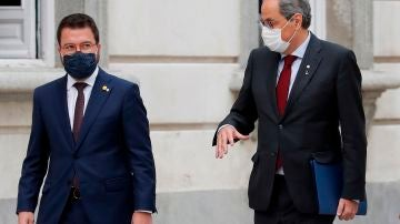 El presidente de la Generalitat, Quim Torra, a su llegada al Tribunal Supremo este jueves en Madrid, junto al vicepresidente, Pere Aragonès.