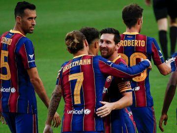 Messi, con Antoine Griezmann