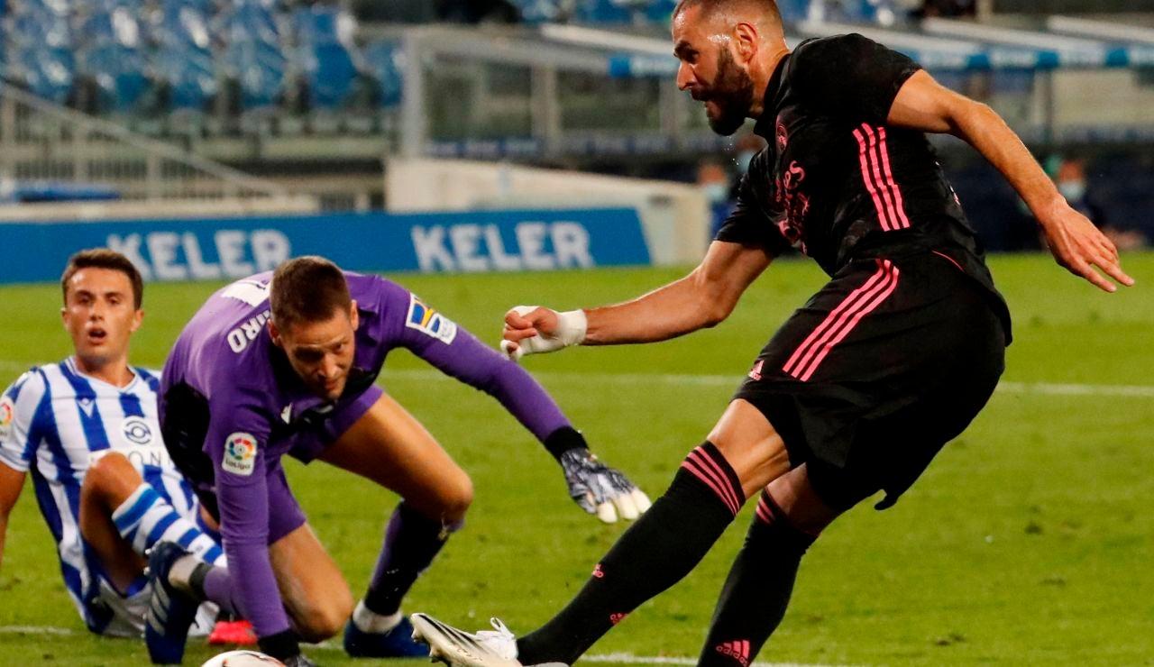 Karim Benzema tiene una ocasión ante la Real Sociedad