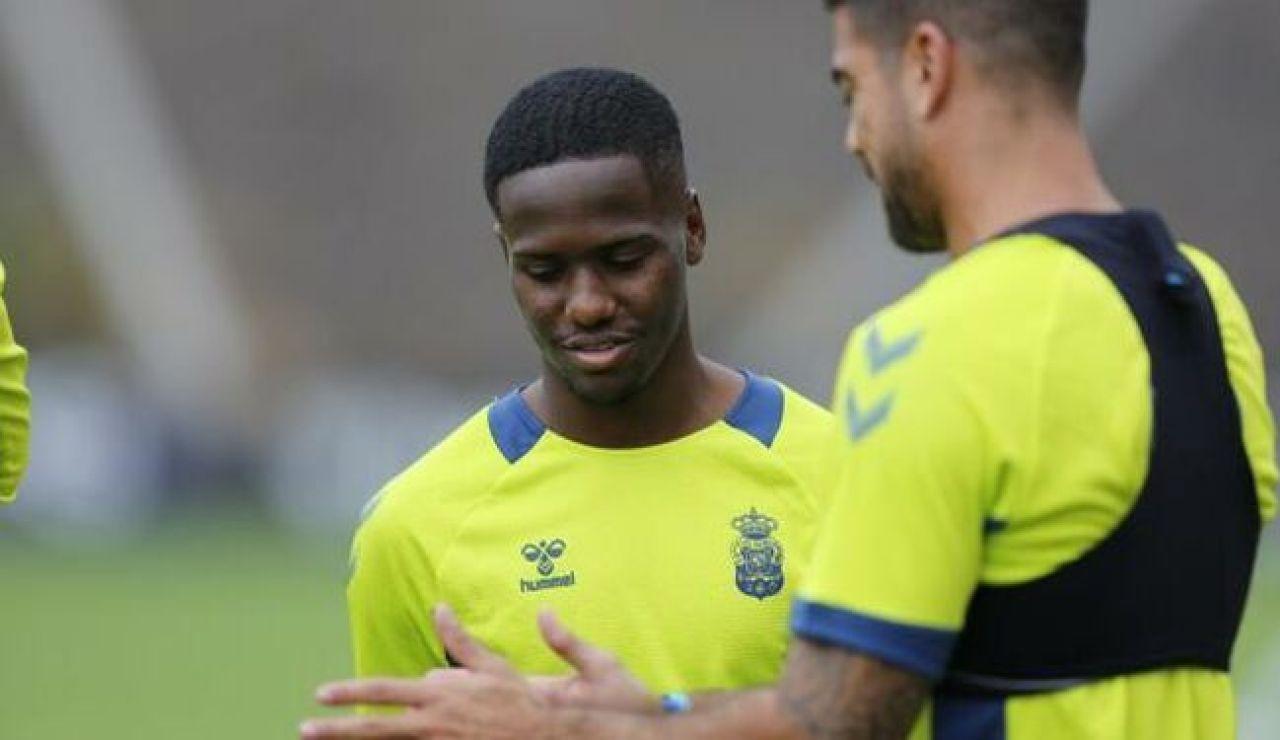 Jonathan Silva,  en un entrenamiento de la UD Las Palmas