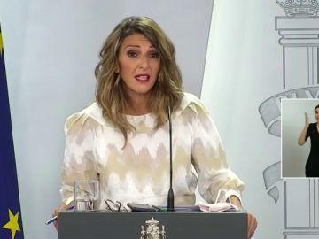 """Yolanda Díaz, sobre la aprobación de la prórroga de los ERTE: """"Si salvamos el otoño y el invierno entraremos en la recuperación"""""""
